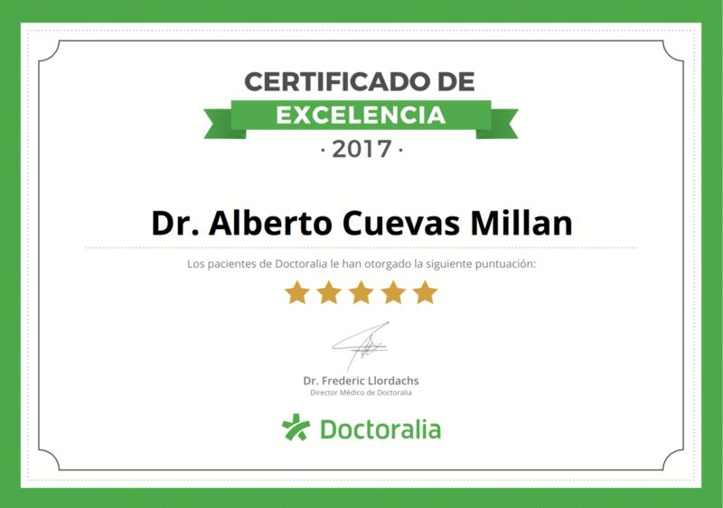 Certificado de Excelencia Doctoralia concedido por valoración excelente de pacientes en 2017